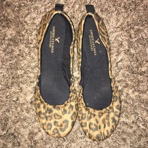 American Eagle Brown Leopard Flats 8.5